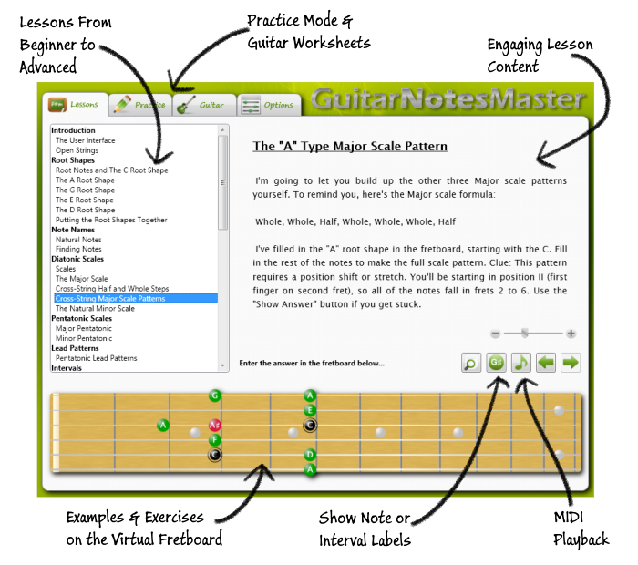 Guitar Notes Master Interface